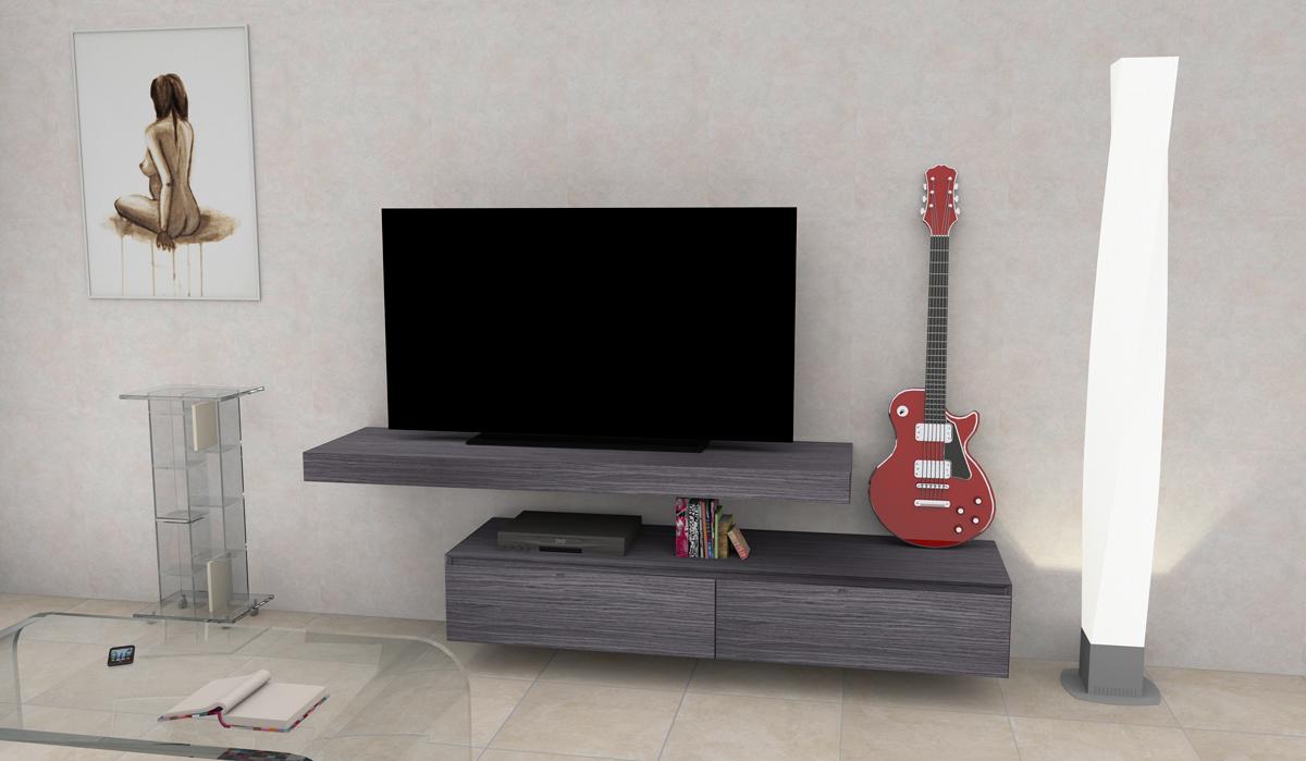Mobile porta tv composta da mensola e cassetti sospesi