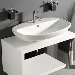 Lavello Bagno Con Mobile.Mobile Bagno 80 Cm Sospeso Bianco Con Lavabo In Vetro